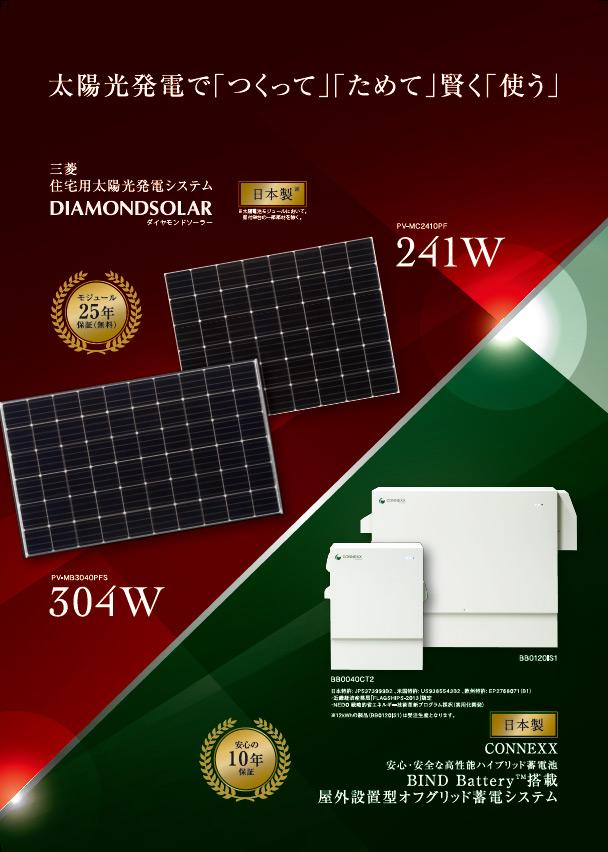 三菱電機太陽光発電システムと 当社蓄電システムとのセット商品のカタログ